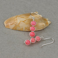 Sterling Silver wiring pink coral dangling earrings bridesmaids gifts Free US Shipping handmade Anni Designs - Anni Designs
