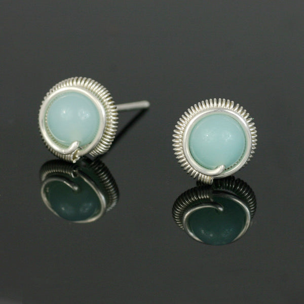 Sterling silver amazonite stone stud earrings Bridesmaid gifts Free US Shipping handmade Anni designs - Anni Designs