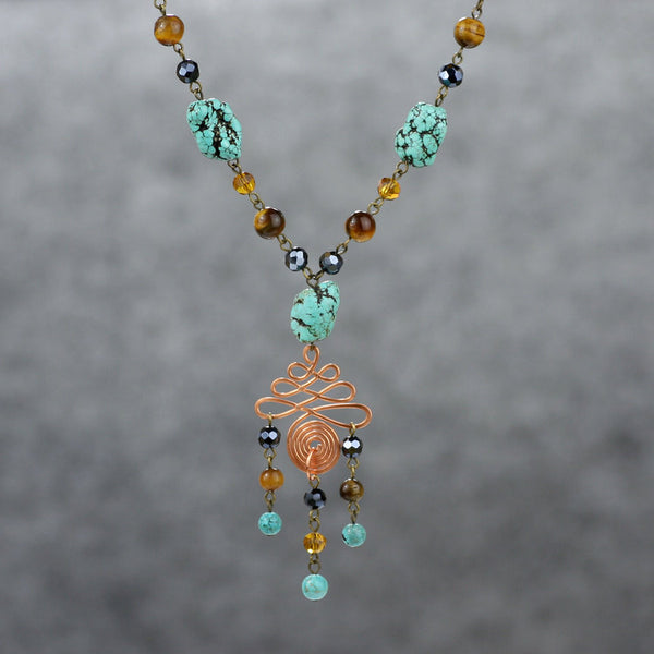 Turquoise tigerseye Long lariat necklace Bridesmaids gifts Free US Shipping handmade Anni Designs - Anni Designs