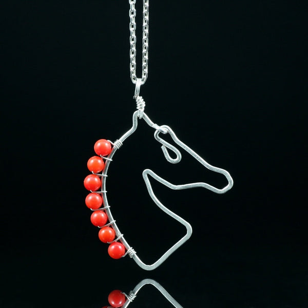 Sterling silver Red coral horse pendant necklace Kentucky Derby Free US Shipping handmade Anni Designs - Anni Designs
