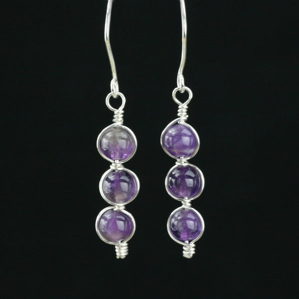 Sterling silver amethyst earrings Bridesmaid gifts Free US Shipping handmade Anni designs - Anni Designs