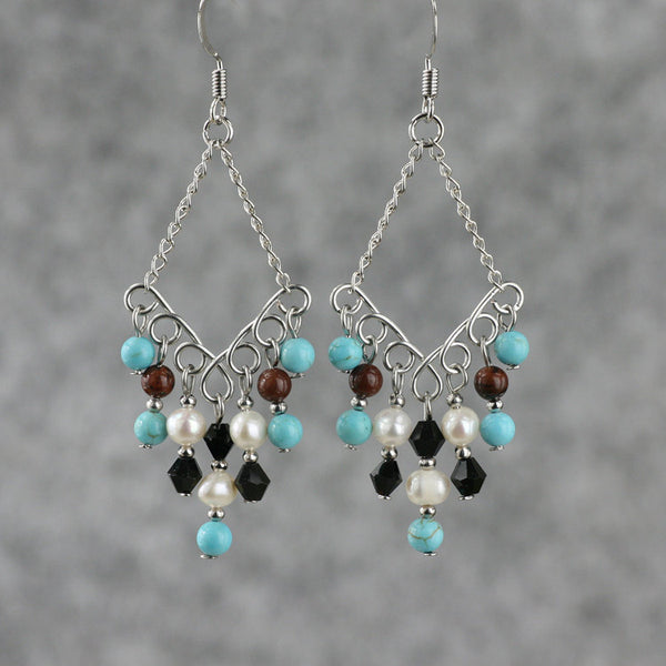 Turquoise pearl obsidian chandelier dangling Earrings Bridesmaid gifts Free US Shipping handmade Anni designs - Anni Designs