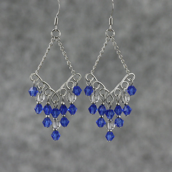 Royal blue chandelier dangling Earrings Bridesmaids gifts Free US Shipping handmade Anni Designs - Anni Designs