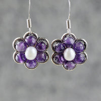 Pearl amethyst flower earrings bridesmaids gifts Free US Shipping handmade Anni designs - Anni Designs