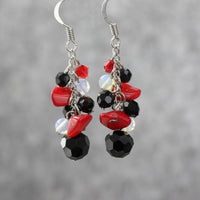 Black onyx moonstone red coral chunky dangling earrings Bridesmaids gifts Free US Shipping handmade Anni Designs - Anni Designs