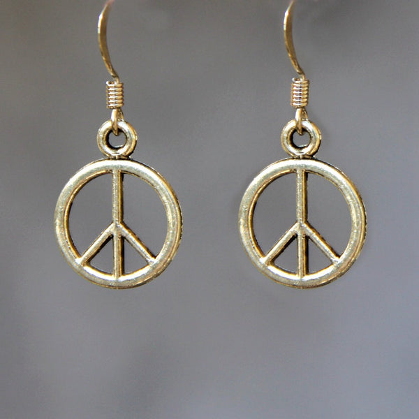 Peace sign drop earrings Free US Shipping handmade Anni Designs - Anni Designs