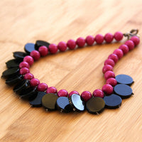 Statement big chunky ceramic necklace Bridesmaid gifts Free US Shipping handmade Anni designs - Anni Designs
