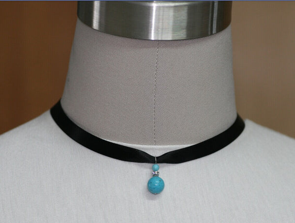 Turquoise beaded choker silk ribbon necklace Bridesmaids gifts Free US Shipping handmade anni designs - Anni Designs