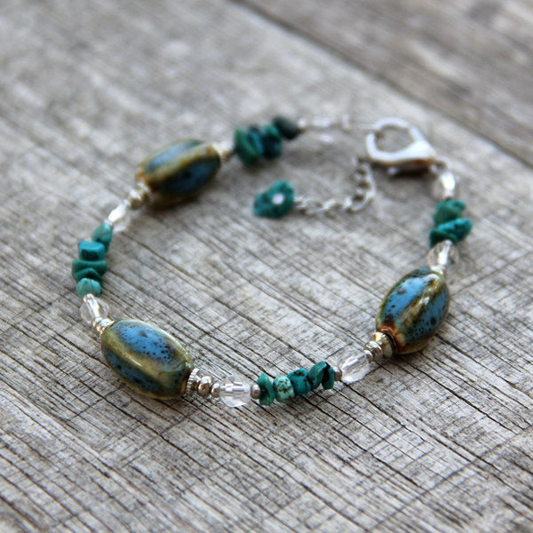 Turquoise ceramic charm bracelet Bridesmaid gifts Free US Shipping handmade Anni designs - Anni Designs