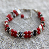 Red Coral layered bracelet Bridesmaids gifts Free US Shipping handmade Anni Designs - Anni Designs