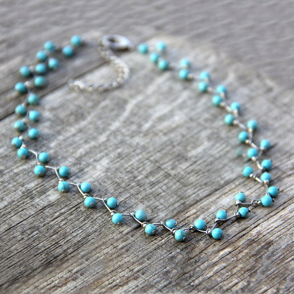 Turquoise zigzag collar necklace Bridesmaids gifts Free US Shipping handmade Anni Designs - Anni Designs