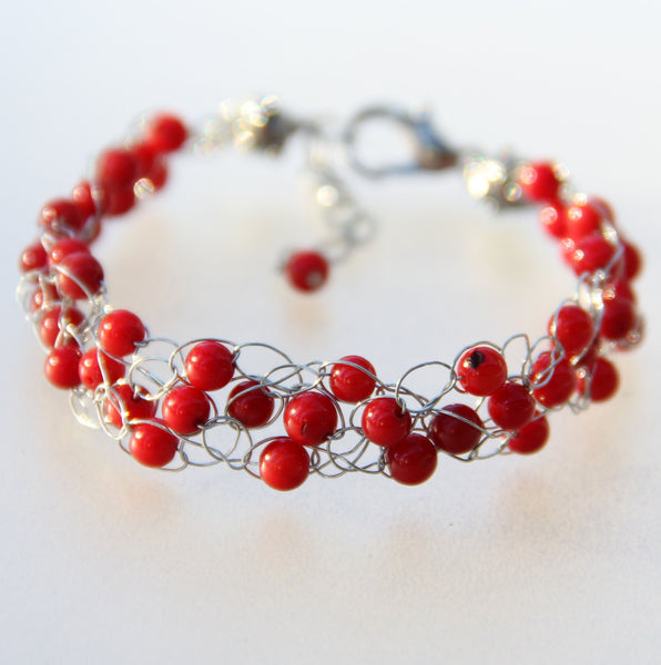 Red Coral Chunky crochet wiring beaded bracelet Bridesmaids gifts Free US Shipping handmade Anni designs - Anni Designs