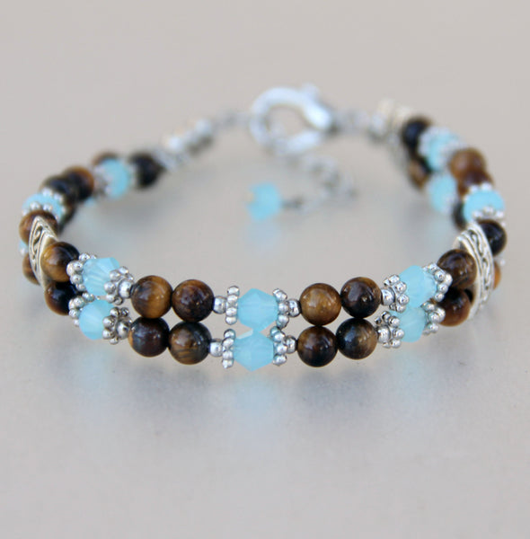 Beaded tigers eye stone turquoise layered bracelet Bridesmaids gifts Free US Shipping handmade Anni Designs - Anni Designs