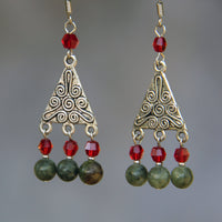 Green red stone dangle drop earrings Bridesmaid gifts Free US Shipping handmade Anni designs - Anni Designs
