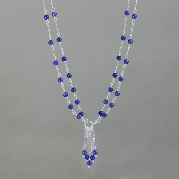 Sterling silver lapis versatile long and short necklace Free US Shipping handmade Anni Designs - Anni Designs