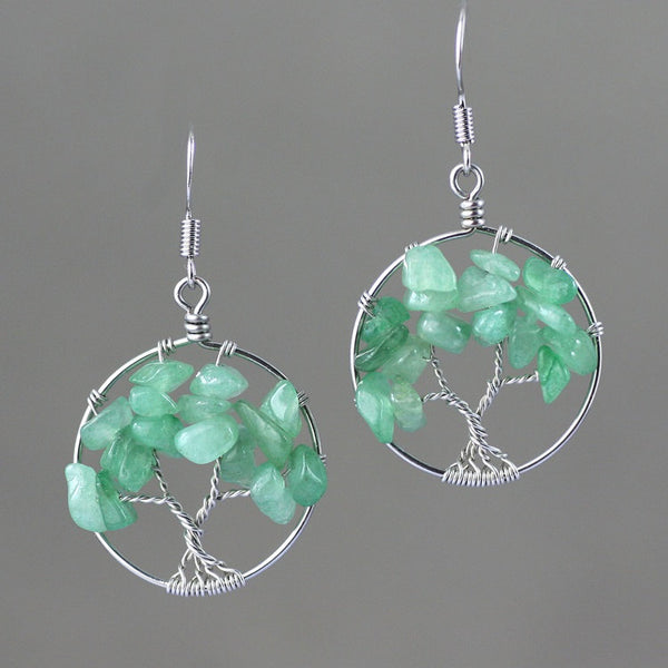 Sterling silver wiring  green jade tree of life earrings  Bridesmaid gifts Free US Shipping handmade Anni designs - Anni Designs
