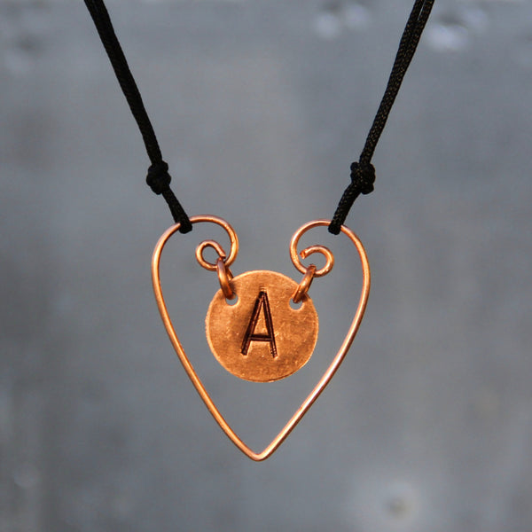 Personalized heart intial monogram charm necklace copper sterling Bridesmaids gifts Free US Shipping handmade Anni Designs - Anni Designs