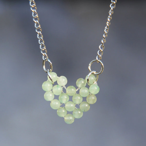 Jade heart pendant necklace Bridesmaids gifts Free US Shipping handmade Anni Designs - Anni Designs