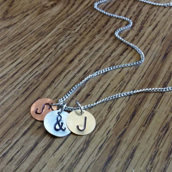 Triple Personalized intial monogram charm necklace Bridesmaids gifts Free US Shipping handmade Anni Designs - Anni Designs