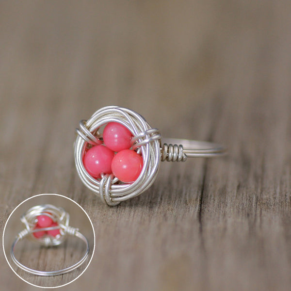 Silver bird egg nest ring  Free US Shipping handmade anni designs - Anni Designs