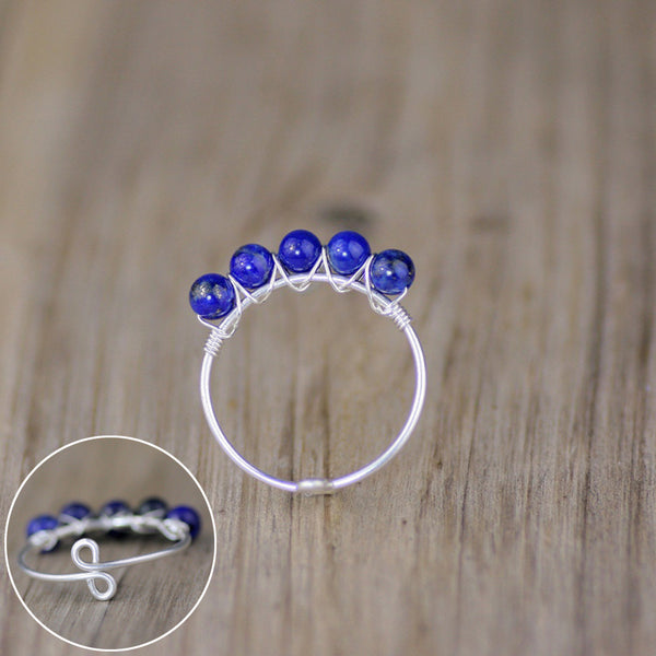 Sterling silve lapis stone Ring Free US Shipping handmade anni designs - Anni Designs
