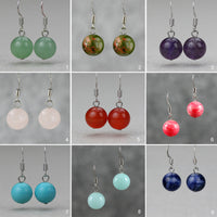 Jade stone simple drop earrings Bridesmaid gifts Free US Shipping handmade Anni designs - Anni Designs