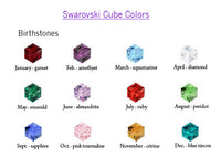 Silver Swarovski cube birthstone earrings Bridesmaids gifts Free US Shipping handmade Anni Designs - Anni Designs