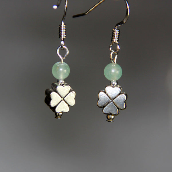 Four leaves clover jade drop earrings Bridesmaids gifts Free US Shipping handmade Anni Designs - Anni Designs