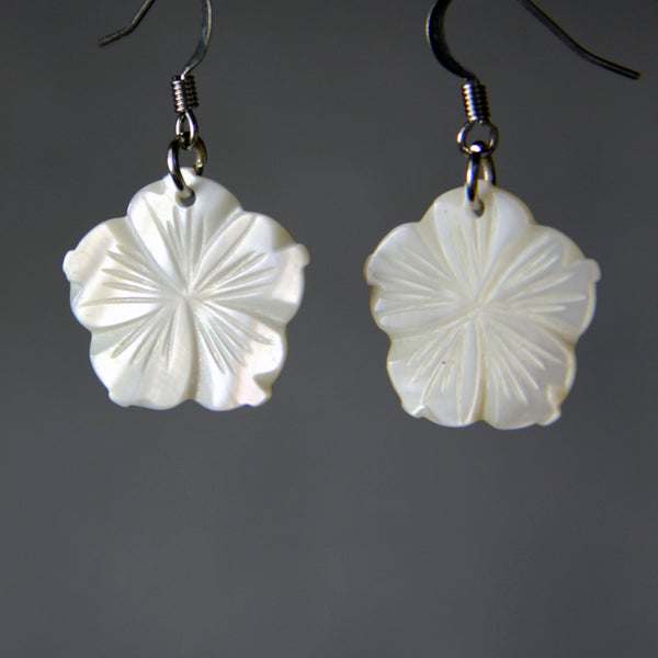5.99-9.99 dollars Flower shell simple drop earrings Bridesmaids gifts Free US Shipping handmade Anni Designs - Anni Designs