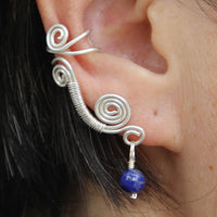 Ear cuff Sterling silver Rococo scroll ear cuff handmade US free shipping Anni Designs - Anni Designs