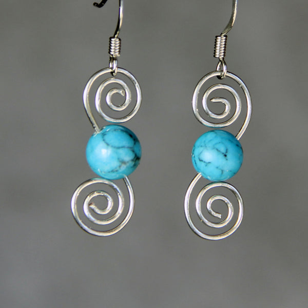 Turquoise silver double scroll wiring earrings Bridesmaids gifts Free US Shipping handmade Anni Designs - Anni Designs