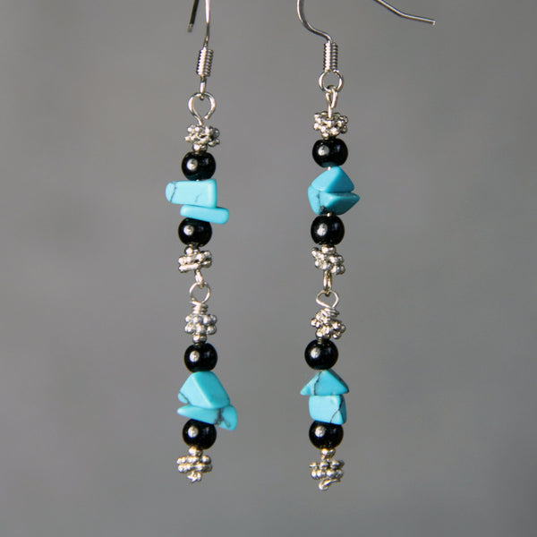Turquosie chips linear dangling earrings Bridesmaids gifts Free US Shipping handmade Anni designs - Anni Designs