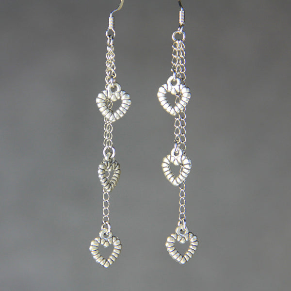 Triple Heart dangling linear earrings Bridesmaids gifts Free US Shipping handmade Anni Designs - Anni Designs