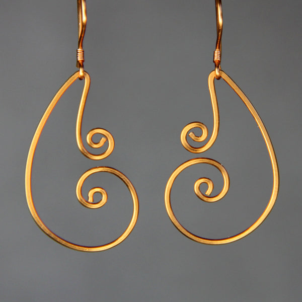 Double Scroll dangling hoop Rococo earring handmade US freeshipping Anni Designs - Anni Designs