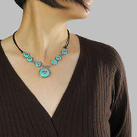Turquoise bead choker chunky wire necklace Bridesmaids gifts Free US Shipping handmade Anni Designs - Anni Designs