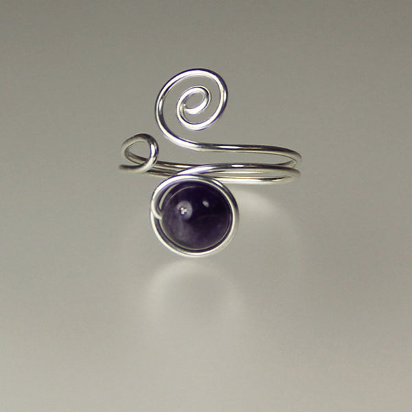 Amethyst sterling silver scroll Ring Sterling silver Bridesmaids gifts Free US Shipping handmade anni designs - Anni Designs