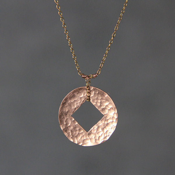 14k rose gold filled coin circle square hammmered pendant necklace Free US Shipping handmade Anni Designs - Anni Designs
