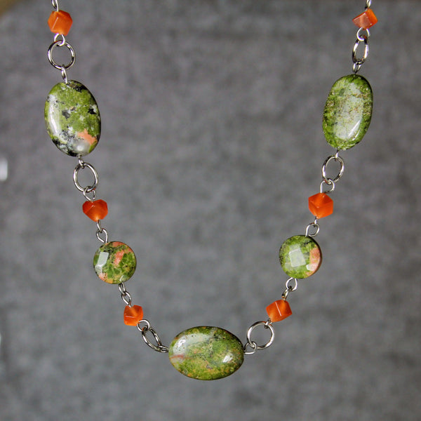 Unakite cateye beaded necklace Bridesmaids gifts Free US Shipping handmade Anni Designs - Anni Designs