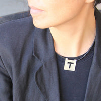 Silver Personalized cutout square modern intial monogram leather necklace Bridesmaids gifts Free US Shipping handmade Anni Designs - Anni Designs