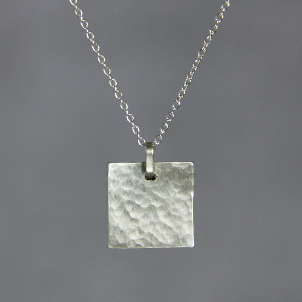 Sterling silver textured hammered square simple pendant necklace bride sterling silver textured hammered square simple pendant necklace bridesmaids gifts free us shipping handmade anni designs aloadofball Images