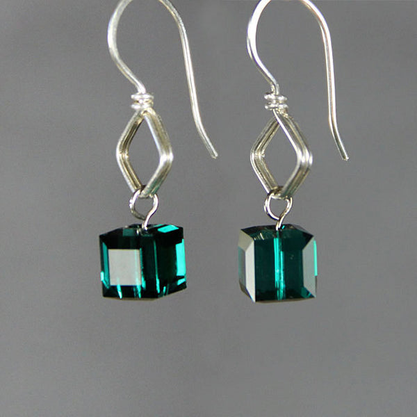 Sterling silver birthstone cube Swarovski crystal drop earrings Free US Shipping handmade Anni Designs - Anni Designs