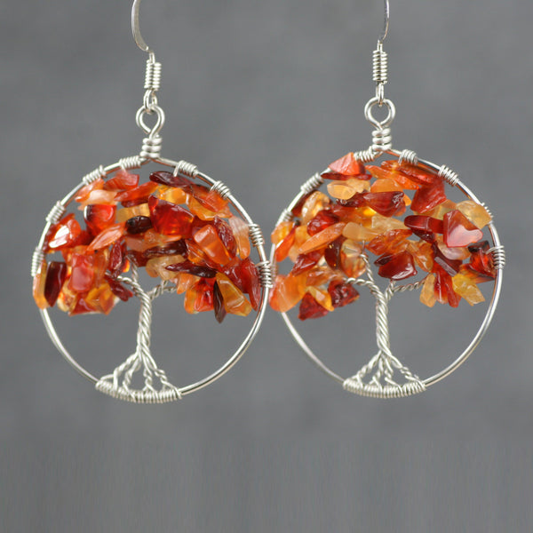 Tree of life Carnelian hoop dangle earrings Bridesmaids gifts Free US Shipping handmade Anni Designs - Anni Designs