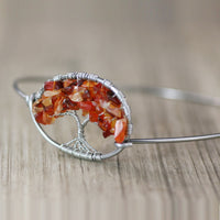 Silver carnelian autumn harvest Personalized Tree of life Bangle Bracelet Handmade Freeshipping Handmade Anni Designs - Anni Designs