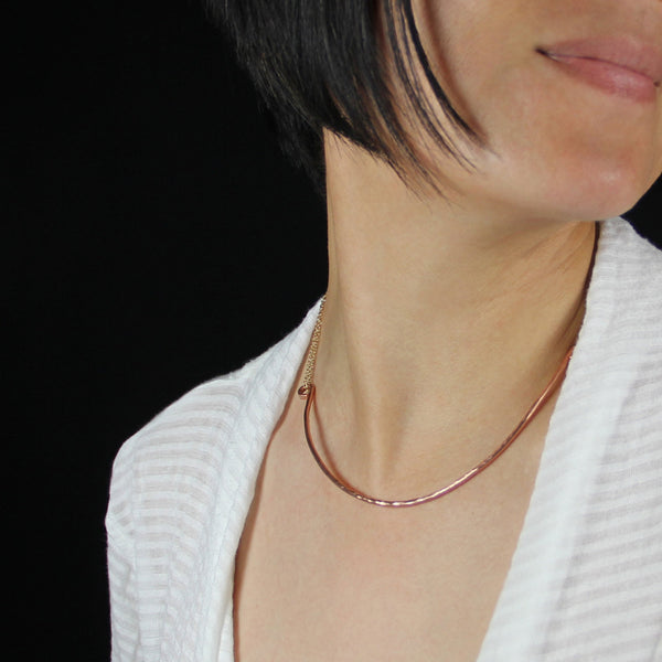 Textured hammered minimal 14k rose gold circle neckcuff necklace Bridesmaids gifts Free US Shipping handmade Anni Designs - Anni Designs