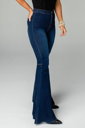 Moonshine High-Waisted Flared Jeans - Dark Blue