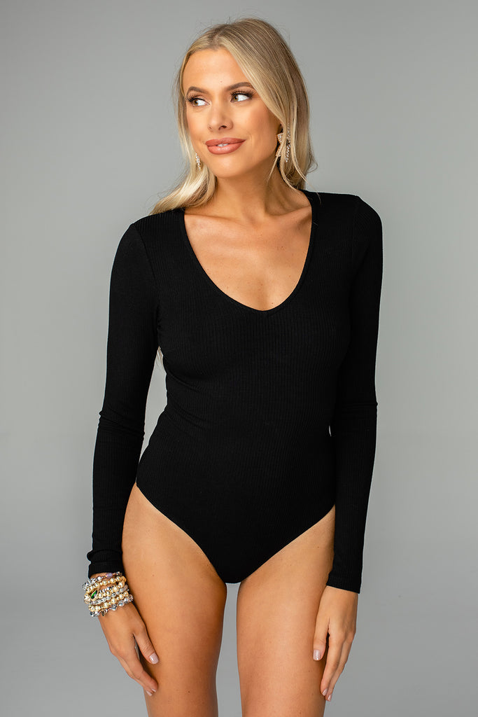 Patti V-neck Long Sleeved Bodysuit - Black