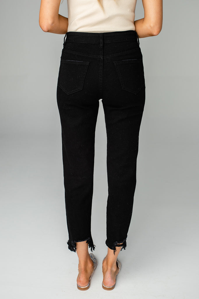 Boss High-Waisted Distressed Ankle Stretched Denim Jeans - Black