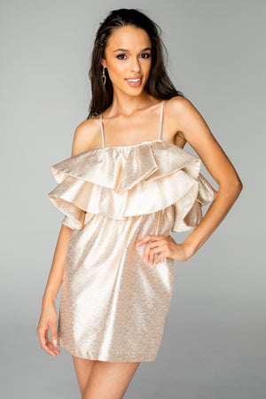 Kelsey Ruffled Chest Cocktail Dress - Gold