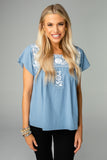 Anniston Short Sleeved Embroidered Top - Blue