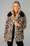 Mariah Medium Length Faux Fur Coat - Leopard